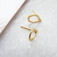Delicate Gold Tear Drop Stud Earrings, Gold