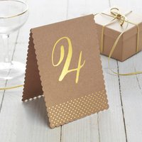 Brown Kraft And Gold Foiled Wedding Table Numbers