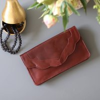 Leather Clutch Bag, Shoulder Bag, Dark Tan