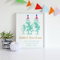 Personalised New Baby Birth Date Ducklings Print