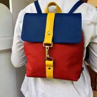 Leather Colour Block Small Backpack