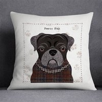Black Pug Personalised Dog Cushion Cover