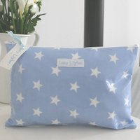 Personalised Wipe Clean Make Up Bag, Pale Blue/Blue/Red