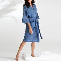 Cotton Wrap Kimono In Blue Circle Print