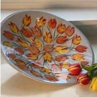 Tulip Design Handmade Ceramic Serving Platter