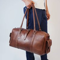 Drake Leather Travel Bag With Two End Flap Pockets