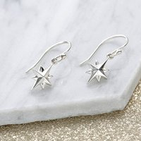 Silver North Star Earrings, Silver