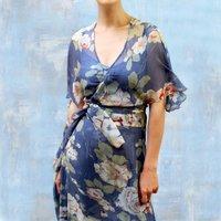 Boho Silk Summer Wrap Dress