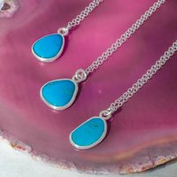 Silver Turquoise December Birthstone Necklace Pendant, Silver