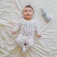 Bunny Face Baby Sleepsuit, White/Grey