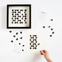 D.I.Y Personalised Hearts Picture Kit, White/Black/Champagne