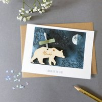 Personalised Graduation Card With Wooden Bear