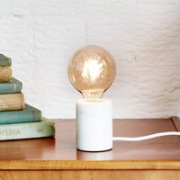 White Marble Table Lamp With Bulb