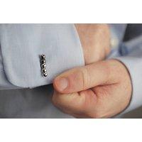 Silver And Black Beaded Bar Cufflinks, Silver