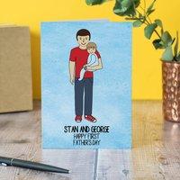 First Father's Day Portrait Card, Black/Dark Brown/Brown