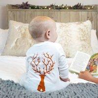 Reindeer Baby Sleepsuit, White