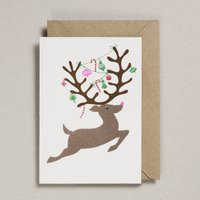 Risograph Christmas Card Leaping Reindeer