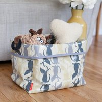 Oilcloth Dog Toy Storage Basket In Rufus Fabric