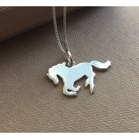 Silver Galloping Horse Necklace, Silver
