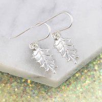 Sterling Silver Holly Leaf Drop Earrings, Silver