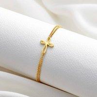 Childrens 18ct Gold Vermeil Cherish Bracelet, Gold