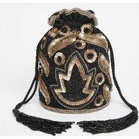 Vegas Art Deco Embellished Bucket Bag In Black Gold