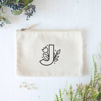 Floral Letter Initial Pouch