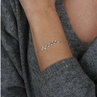 Silver Crystal Leaf Bracelet, Silver