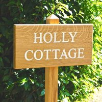 Personalised Wooden House Sign On Posts