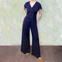 Contrast Stitch Detail Crepe Trousersuit