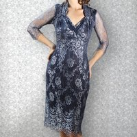 Silver Blue Lace Dress With Sleeves