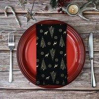 Black/Gold Christmas Tree Cotton Napkins
