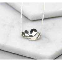 Handmade Sterling Silver Concave Hearts Necklace, Silver