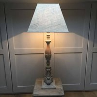 Redwood Distressed Grey Column Table Lamp And Shade