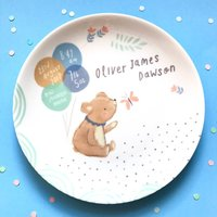 Personalised Teddy Baby Birth Plate Blue Shades