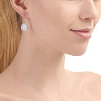 18ct Rose Gold And Moonstone Drop Earrings, Gold