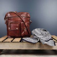 Mens Leather Laptop Messenger Bag