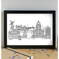 Nottingham Skyline Landmarks Art Print Unframed