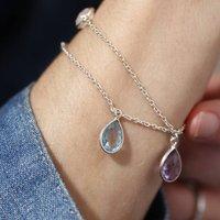 Sterling Silver Gemstone Charm Bracelet, Silver