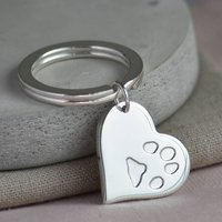 Your Pets Paw Print Silver Heart Keyring