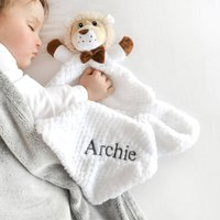 Personalised White Lion Baby Comforter