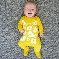 Eggshausted Baby Sleepsuit, Yellow/White