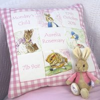 Beatrix Potter* Memory Cushion**, Red/Pink/Blue