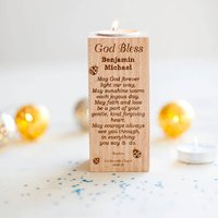 Christening Personalised Wooden Tealight Holder