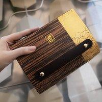 Ebony Hardwood And Leather Clutch Bag