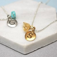 Personalised Initial Birthstone Necklace, Gold/Silver