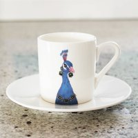 Peacock Print Illustrated Espresso Cup And Saucer