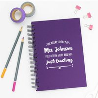 Personalised Any Date Teacher's Weekly Diary, Ivory/White/Midnight Blue