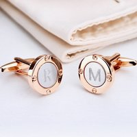 Rose Gold And Silver Porthole Initial Cufflinks, Silver