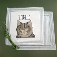 Three Personalised Handkerchiefs Gift For Cat Lovers